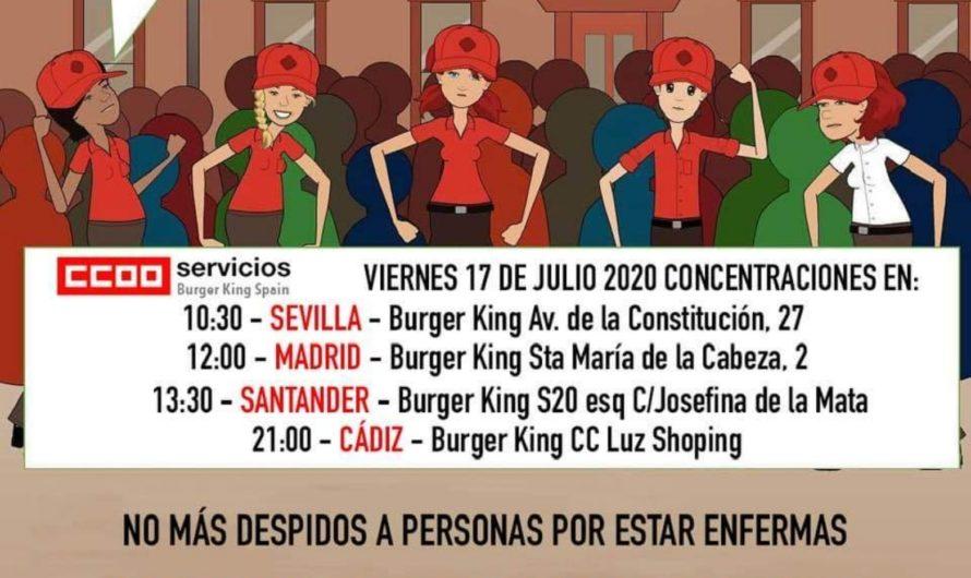 CCOO CONTINÚA LAS MOVILIZACIONES CONTRA DE BURGER KING POR DESPEDIR A SU PLANTILLA  POR ENFERMAR