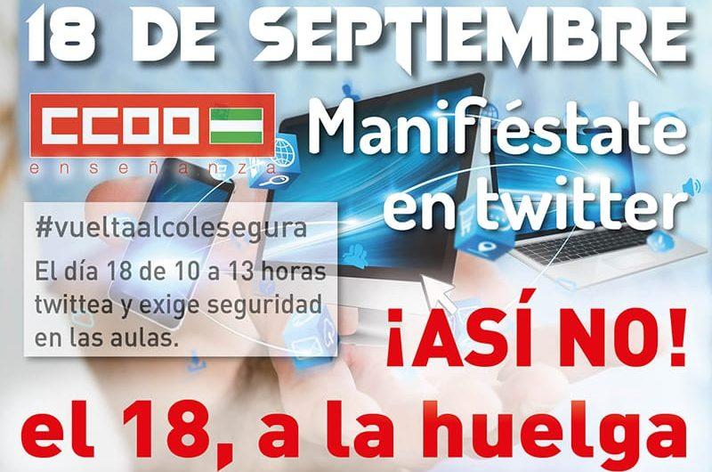 El 18 de septiembre, MANIFIÉSTATE EN TWITTER‼️ CCOO Enseñanza